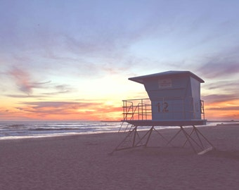 Beach Pictures, Lifeguard Tower, Sunset, San Diego, California Photography
