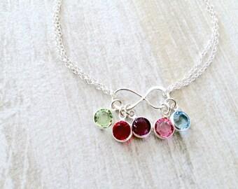 925 Sterling Silver Infinity Birthstone Bracelet swarovski Birthstones Personalized Birthstone Bracelet Infinity Bridesmaid Bracelets gift
