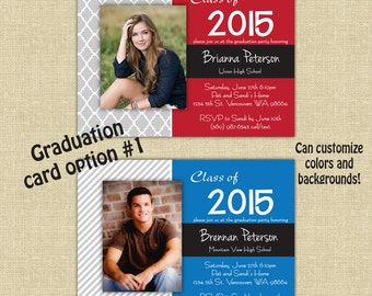 Graduation Party Invite- customize name, school and colors- 5x7