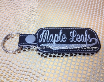 Maple Leafs - In The Hoop - Snap/Rivet Key Fob - DIGITAL EMBROIDERY DESIGN