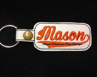 Mason - In The Hoop - Snap/Rivet Key Fob - DIGITAL EMBROIDERY DESIGN