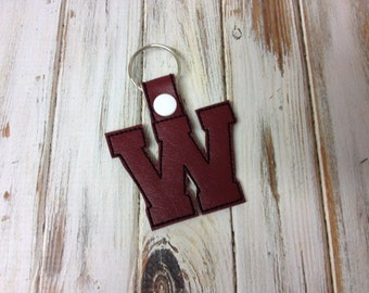 "2 Inch Letter ""W"" SNAP Key Fob In The Hoop - DIGITAL Embroidery DESIGN"