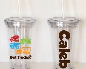 Got Trucks?- Personalized Acrylic Tumbler, Kid Size