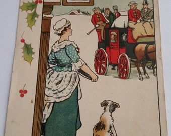 Antique Raphael Tuck & Sons Christmas Greetings Postcard Woman Watching Stagecoach