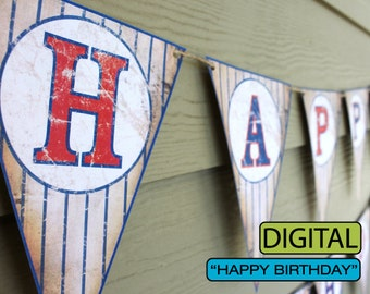 Vintage Baseball Birthday Banner Sign Digital File