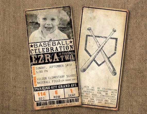Baseball Wedding Invitation: 20 Custom Vintage Baseball Ticket Invitations By