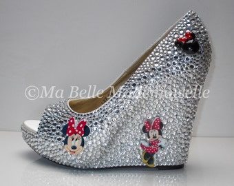 minnie mouse crystal wedge shoes