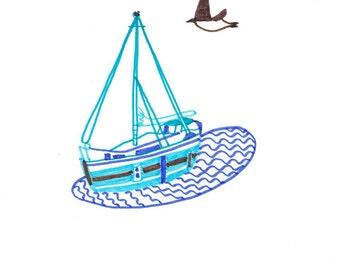 Mevagissey Boat - A5 felt tip original drawing