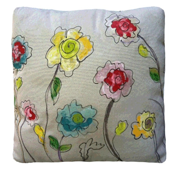 LatviaLinen   Garden Of Poppies, Red, Yellow, Blue, Flowers, Patio, Accent  Pillows, Throw Pillows, Indoor/Outdoor Pillows, Hand Painted, Pillow Cover,