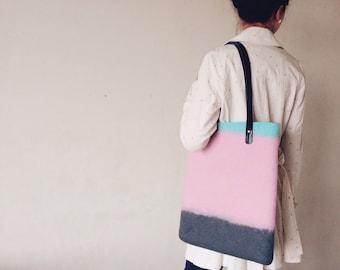 Tote Bag, Handfelted Wool Tote Bag, Shoulder Bag, Felt and Leather Bag, Trending Colors Tote Bag, Shopping Bag, Middle Size, Bags
