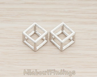 PDT1291-01-MR // Original Rhodium Plated 3D Drawing Brushed Cube Pendant, 2Pc