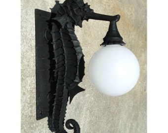 Sea Horse Nautical Outdoor Wall Sconce Light Fixture, Great for Commercial or Residential