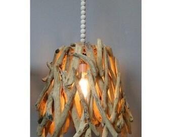 Driftwood Pendant Light Fixture Hand Made, Natural Wood & Bead Medium Chandelier