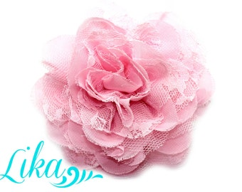 Pink Lace Flower - Chiffon Flower - Lace rose - Shredded Lace Flower - Wholesale - Supply - DIY- 3.75 inch