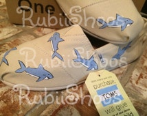 RubiiShoos Original- Shark Tank- Sharks- Shark Week- FIsh- Under The Sea- Women's TOMS- Fisherman Shoes- Friendly Fish- Gift- Hand Painted