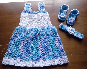 Baby dress set, baby girl summer crochet dress set 6-9 mths, white & blue dress, booties, headband, sandals, lavender purple