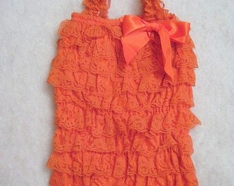 Baby Toddler Ruffle Petti Romper With Straps Orange Size Medium