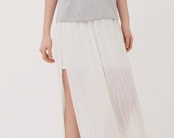 Long skirt / Maxi skirt /chiffon skirt /pleated skirt/slit skirt
