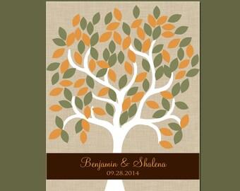 Fall Wedding Signature Tree with 105 Leaves, Alternative Guestbook Tree, Wedding Tree Signature Guestbook, Autumn Wedding Decor