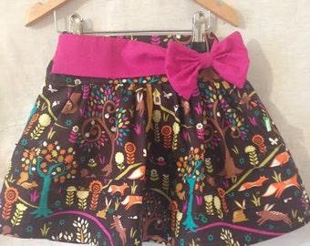 Woodland Animal skirt, Girls summer skirt, Holiday Skirt - Twirly skirt