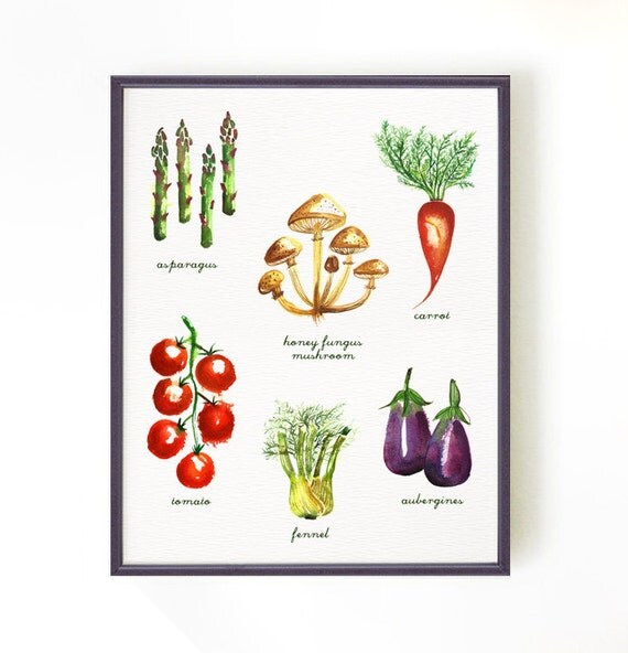 Kitchen Decor Vegetables: Kitchen Art Vegetable Chart Vegetable Watercolor Painting