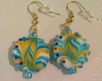 Blue and Yellow Glass Bead Earrings  Item No. 54