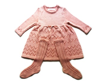 Babygirls/Girls 2 piece set - cotton lace dress and knee-high socks/outfit/babtism/christenings/birthday