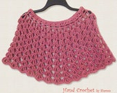 Spring Capelet / Shoulder Warmer / Shawl / Poncho / Wrap / Red and Cream