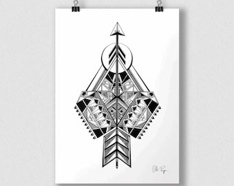 Black and white print of original illustration art poster ARROW