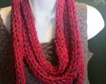 Finger knit infinity scarf (phoenix azalea/pink tweed), handcrafted knit scarf, infinity loop