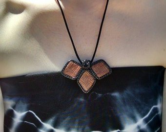 Black, Copper, and Gold Geometrical Diamond Shapes Crosshatch Pattern Clay Pendant on Satin Cord Necklace Unique Boho Tribal Womens Fashion