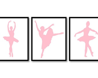 Pink Ballerina Prints Ballet Dancers Child Baby Art Prints Set of 3 Silhouette Girls Art Nursery Art Kids Room Wall Art Decor