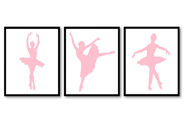 Pink Ballerina Prints Ballet Dancers Child Baby Art Prints Set of 3 Silhouette Girls Art Nursery Art