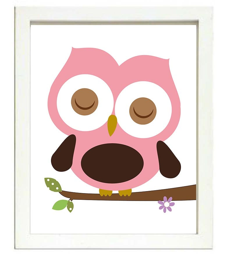 Pink Brown Owl Nursery Art Print Branch Girl Nursery Art Child Kid Room Wall Decor