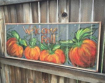 Welcome fall old window screen hand painting,Fall decor made to order
