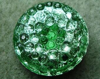 Czech Glass Button 27mm - hand painted -  green bubbles, silver (B27263)