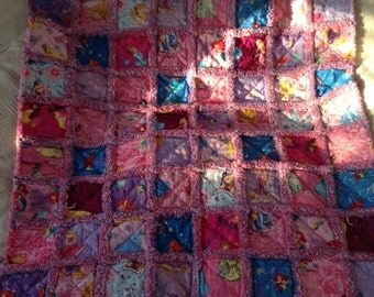 Disney Princess Baby/Toddler Rag Quilt w/purple backing
