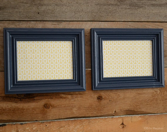 pair of 5x7 navy blue picture frames painted by erinheaton. Black Bedroom Furniture Sets. Home Design Ideas