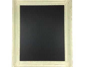 FRAMED CHALKBOARD, Beautiful White Rustic Framed Chalkboard, Beach Cottage Home Decor, Cottage Chic Chalk Board for Wall