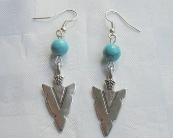 Silver arrow and turquoise earrings, Silver dangle earrings, Boho turquoise earrings, Silver arrow earrings, Dangle earrings