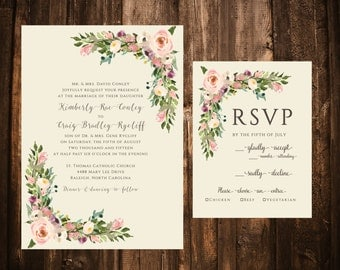 Vintage Blush Bohemian Floral Wedding Invitations; Printable OR set of 25