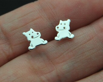 925 Sterling Silver, Sterling Silver Hippo Studs Hippo Earrings Kids Jewelry Gift mom animal jewelry animal earrings