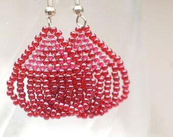 Beaded looped earrings in burgandy & pink seed beads