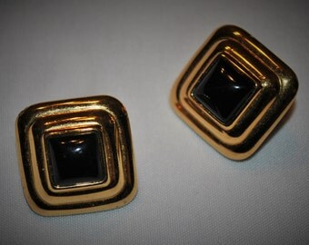 Black And Gold Monet Clip On Earrings
