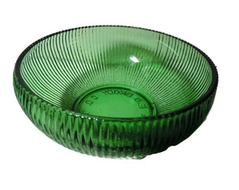 Vintage E O Brody Ribbed Green Glass Bowl