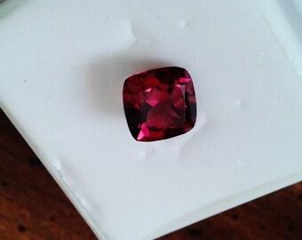 Natural Fine Raspberry Rhodalite Garnet Cushion Cut Loose Gemstone, 8 X 8 mm, 2.62 carats