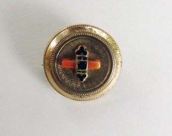Victorian gold filled orange coral and taille d'epargne brooch and pendant