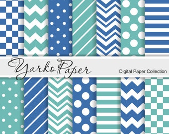 Turquoise And Navy Digital Paper Pack, Chevron, Polka Dot, Stripes, Basic Geometric Paper, Digital Background, 14 Sheets - Instant Download