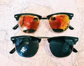 sunglasses / Classic vintage style wayfarer clubmaster sunglasses / rayban style 80s hornrim reflective lenses
