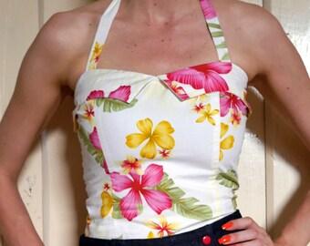 Tropical Floral Halter\\Pin-up Halter\\ 50s Halter\\50s Hawaiian